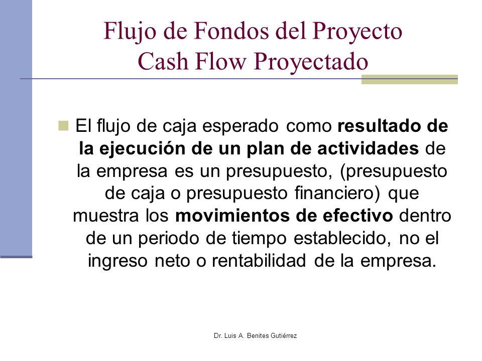 Dr. Luis A. Benites Gutiérrez Flujo de Fondos del Proyecto Cash Flow Proyectado El flujo de caja esperado como resultado de la ejecución de un plan de