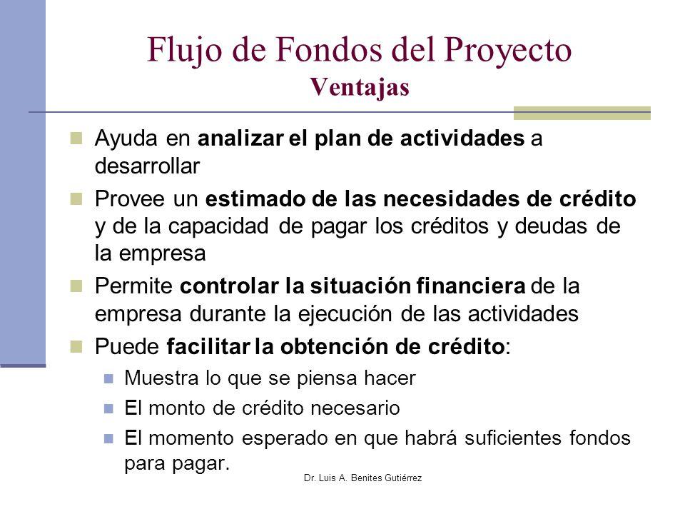 Dr. Luis A. Benites Gutiérrez Flujo de Fondos del Proyecto Ventajas Ayuda en analizar el plan de actividades a desarrollar Provee un estimado de las n