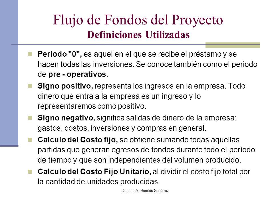 Dr. Luis A. Benites Gutiérrez Flujo de Fondos del Proyecto Definiciones Utilizadas Periodo