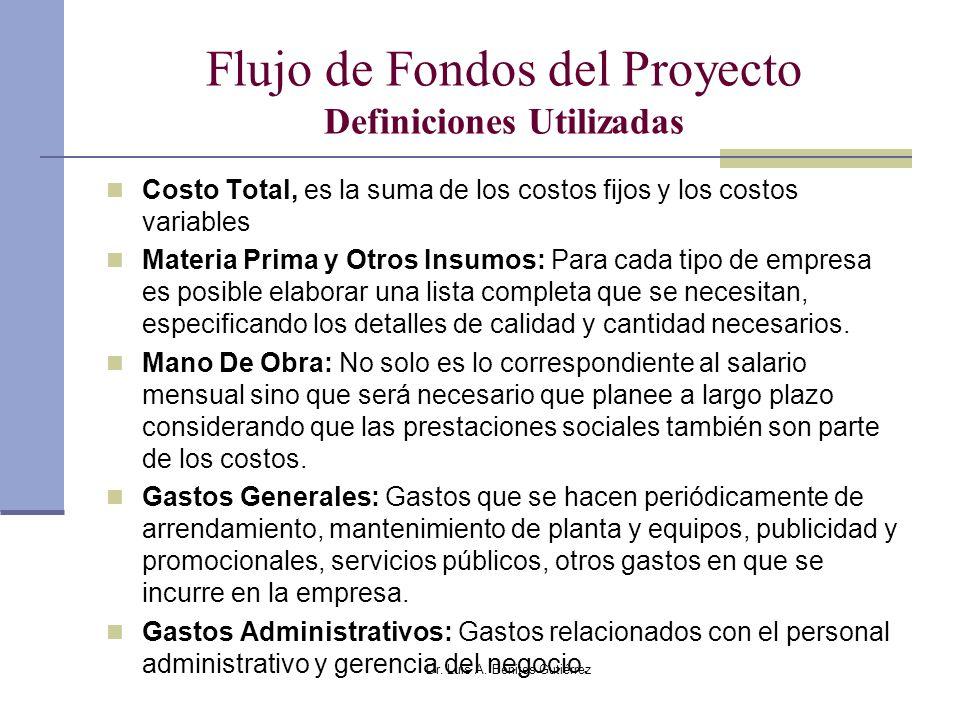 Dr. Luis A. Benites Gutiérrez Flujo de Fondos del Proyecto Definiciones Utilizadas Costo Total, es la suma de los costos fijos y los costos variables