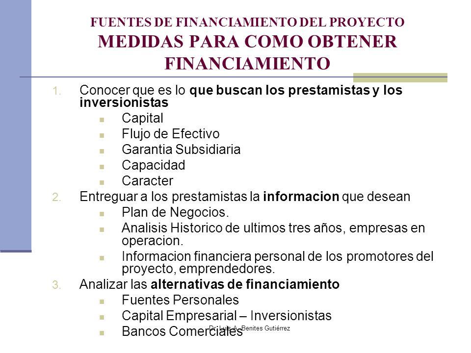 Dr. Luis A. Benites Gutiérrez FUENTES DE FINANCIAMIENTO DEL PROYECTO MEDIDAS PARA COMO OBTENER FINANCIAMIENTO 1. Conocer que es lo que buscan los pres