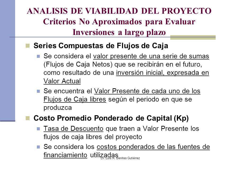 Dr. Luis A. Benites Gutiérrez ANALISIS DE VIABILIDAD DEL PROYECTO Criterios No Aproximados para Evaluar Inversiones a largo plazo Series Compuestas de