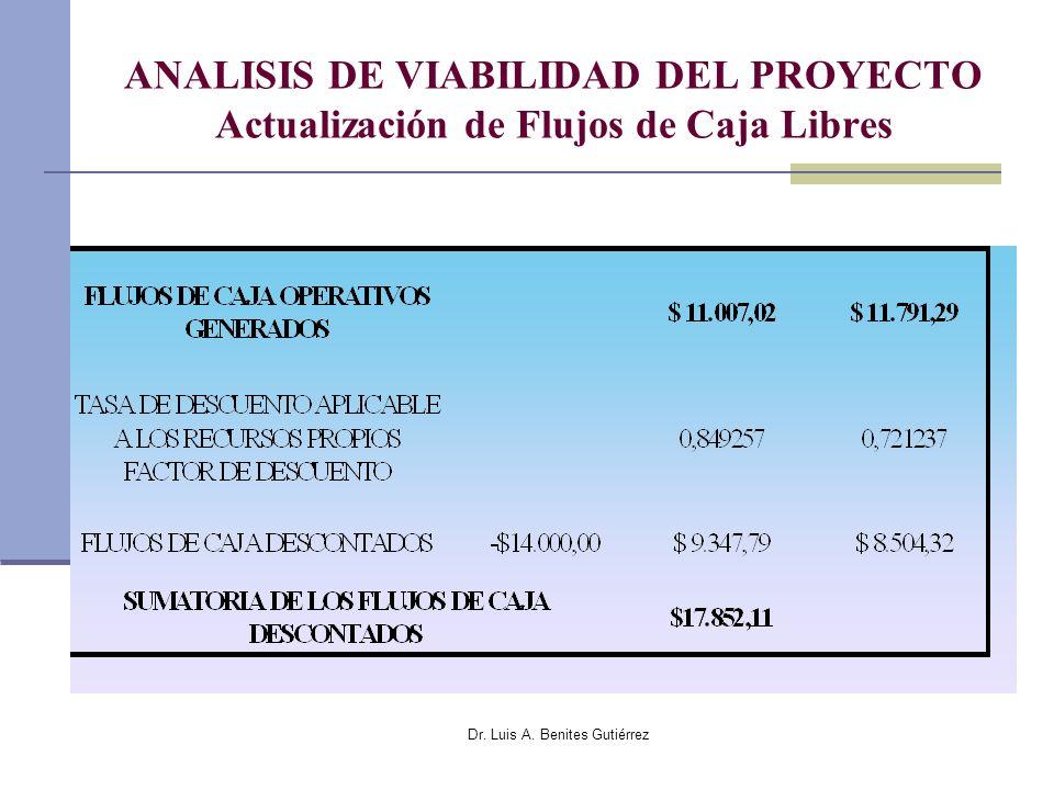 Dr. Luis A. Benites Gutiérrez ANALISIS DE VIABILIDAD DEL PROYECTO Actualización de Flujos de Caja Libres