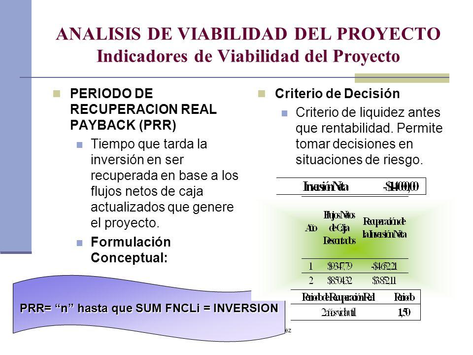 Dr. Luis A. Benites Gutiérrez ANALISIS DE VIABILIDAD DEL PROYECTO Indicadores de Viabilidad del Proyecto PERIODO DE RECUPERACION REAL PAYBACK (PRR) Ti