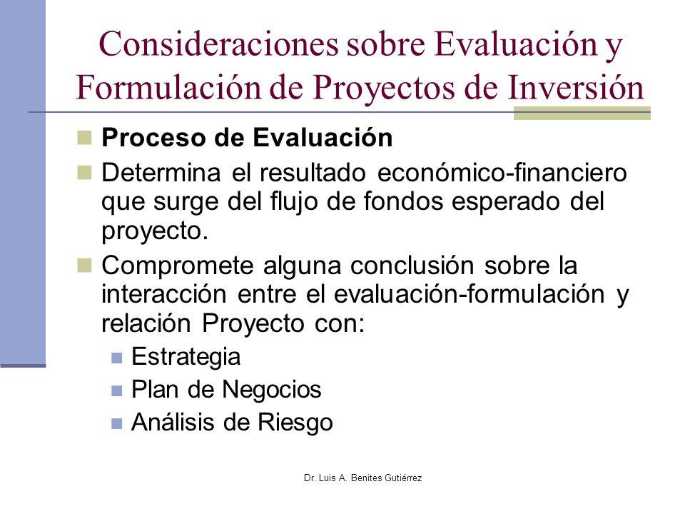 Dr. Luis A. Benites Gutiérrez Consideraciones sobre Evaluación y Formulación de Proyectos de Inversión Proceso de Evaluación Determina el resultado ec