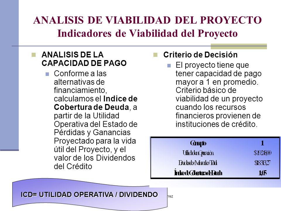 Dr. Luis A. Benites Gutiérrez ANALISIS DE VIABILIDAD DEL PROYECTO Indicadores de Viabilidad del Proyecto ANALISIS DE LA CAPACIDAD DE PAGO Conforme a l