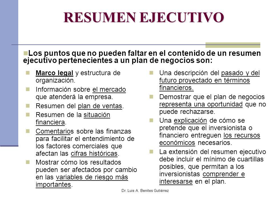 Dr. Luis A. Benites Gutiérrez RESUMEN EJECUTIVO Marco legal y estructura de organización. Información sobre el mercado que atenderá la empresa. Resume