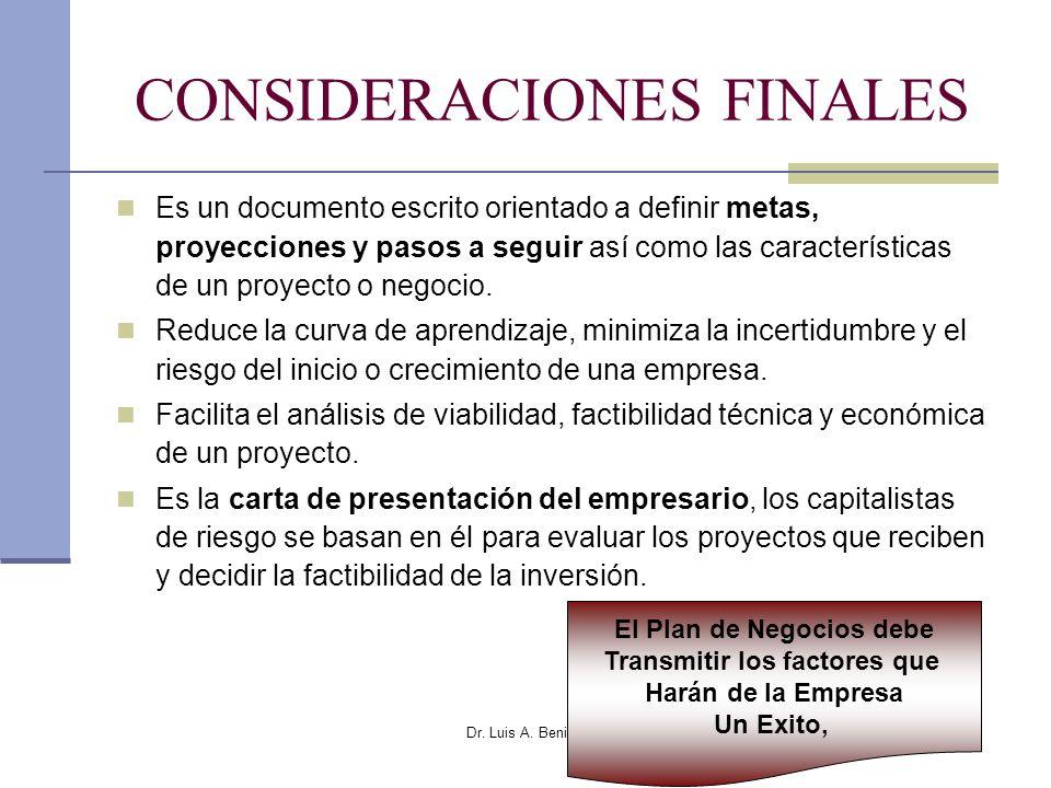 Dr. Luis A. Benites Gutiérrez CONSIDERACIONES FINALES Es un documento escrito orientado a definir metas, proyecciones y pasos a seguir así como las ca