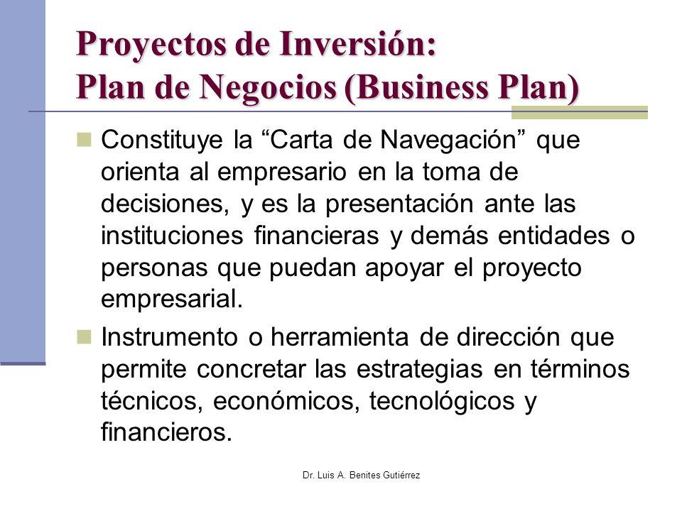 Dr. Luis A. Benites Gutiérrez Proyectos de Inversión: Plan de Negocios (Business Plan) Constituye la Carta de Navegación que orienta al empresario en