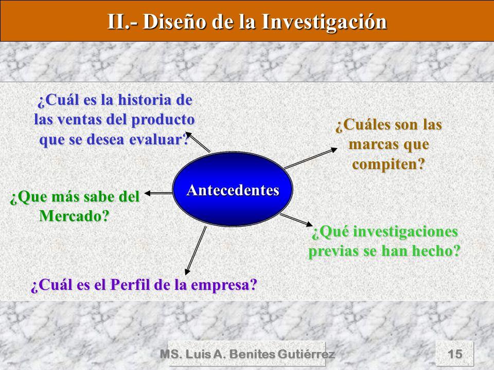 MS. Luis A. Benites Gutiérrez15 II.- Diseño de la Investigación Antecedentes ¿Cuál es la historia de las ventas del producto que se desea evaluar? ¿Cu