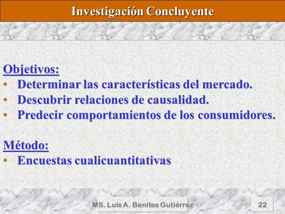 MS. Luis A. Benites Gutiérrez22 Objetivos: Determinar las características del mercado.Determinar las características del mercado. Descubrir relaciones