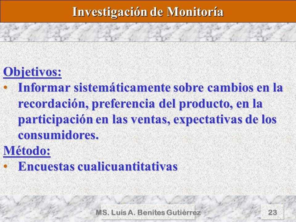 MS. Luis A. Benites Gutiérrez23 Objetivos: Informar sistemáticamente sobre cambios en la recordación, preferencia del producto, en la participación en