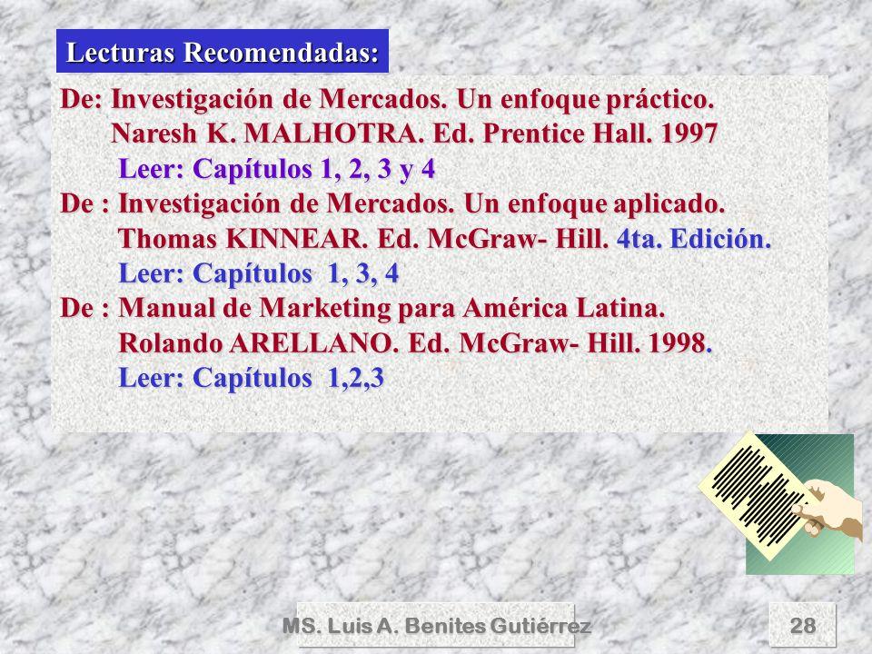 MS. Luis A. Benites Gutiérrez28 Lecturas Recomendadas: De: Investigación de Mercados. Un enfoque práctico. Naresh K. MALHOTRA. Ed. Prentice Hall. 1997