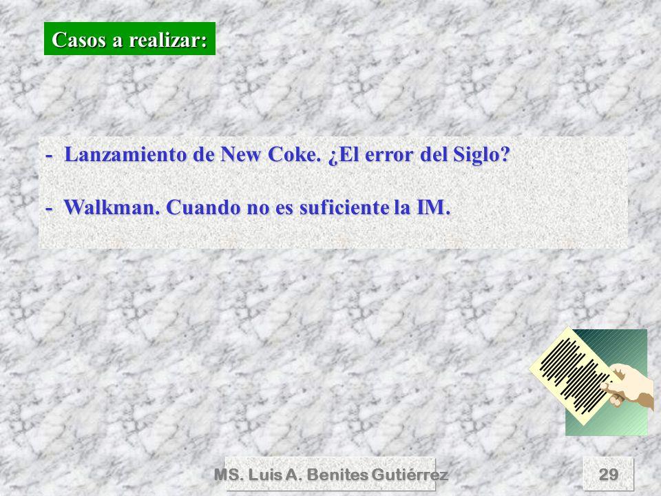 MS. Luis A. Benites Gutiérrez29 Casos a realizar: - Lanzamiento de New Coke. ¿El error del Siglo? - Walkman. Cuando no es suficiente la IM.