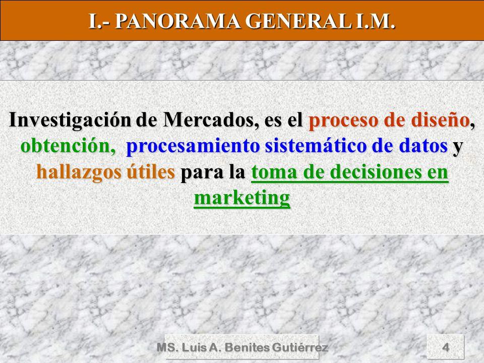 MS. Luis A. Benites Gutiérrez4 Investigación de Mercados, es el proceso de diseño, obtención, procesamiento sistemático de datos y hallazgos útiles pa