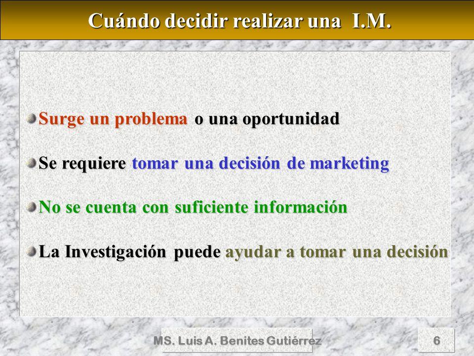 MS. Luis A. Benites Gutiérrez6 Surge un problema o una oportunidad Se requiere tomar una decisión de marketing No se cuenta con suficiente información