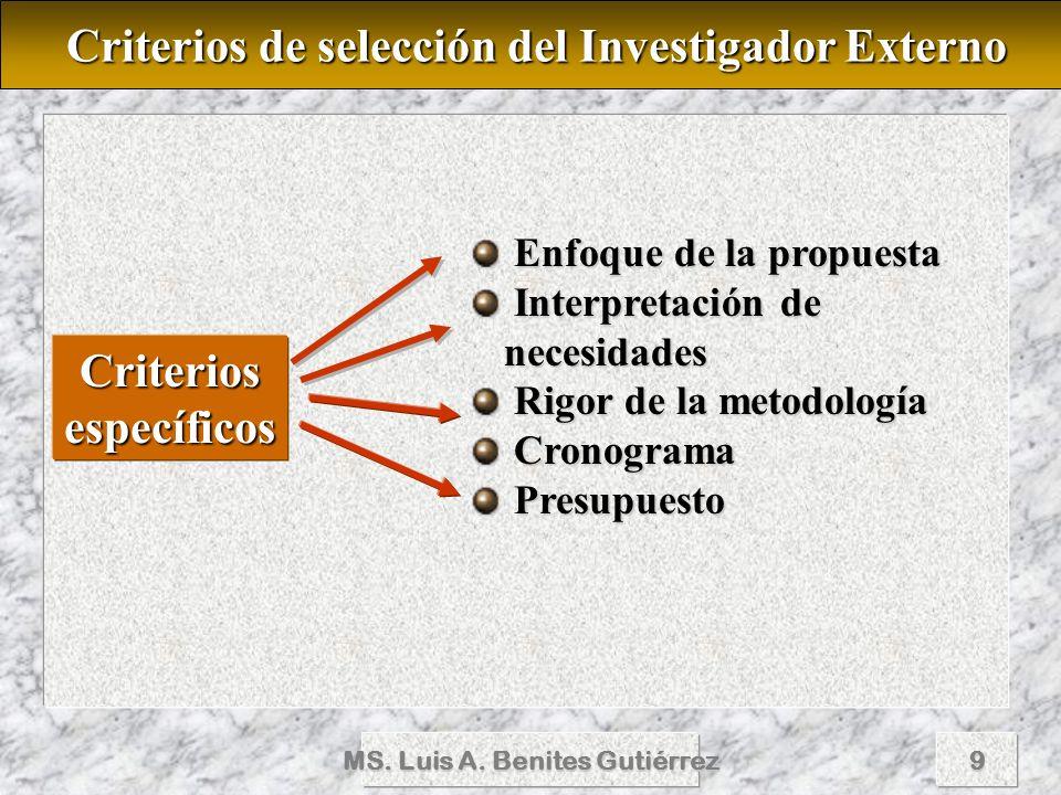 MS. Luis A. Benites Gutiérrez9 Criterios de selección del Investigador Externo Criterios de selección del Investigador Externo Criteriosespecíficos En