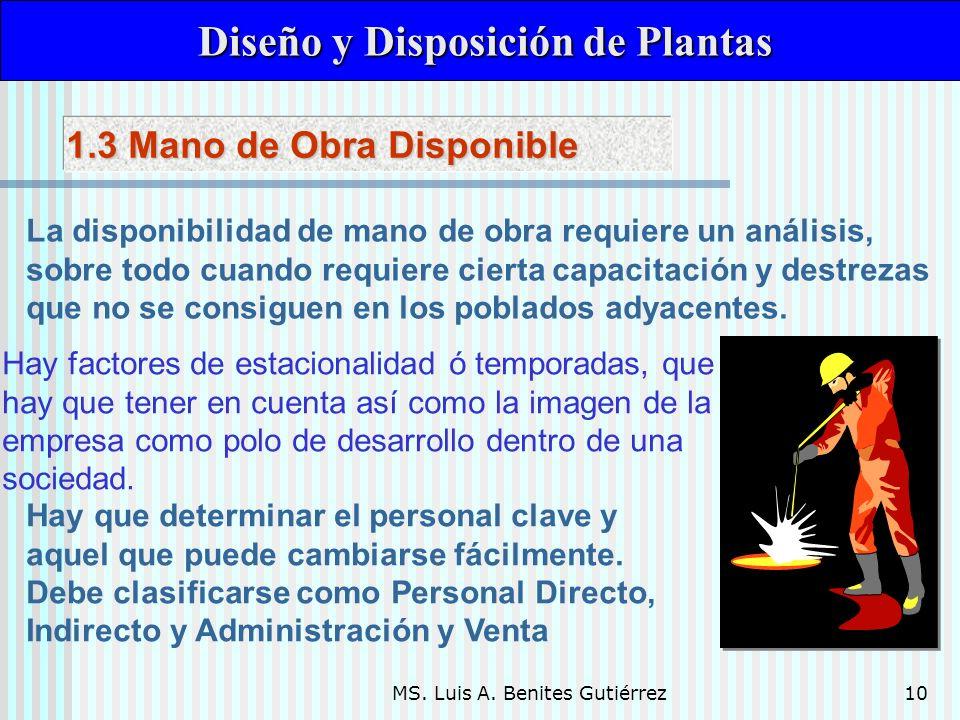 MS. Luis A. Benites Gutiérrez10 Diseño y Disposición de Plantas Diseño y Disposición de Plantas La disponibilidad de mano de obra requiere un análisis