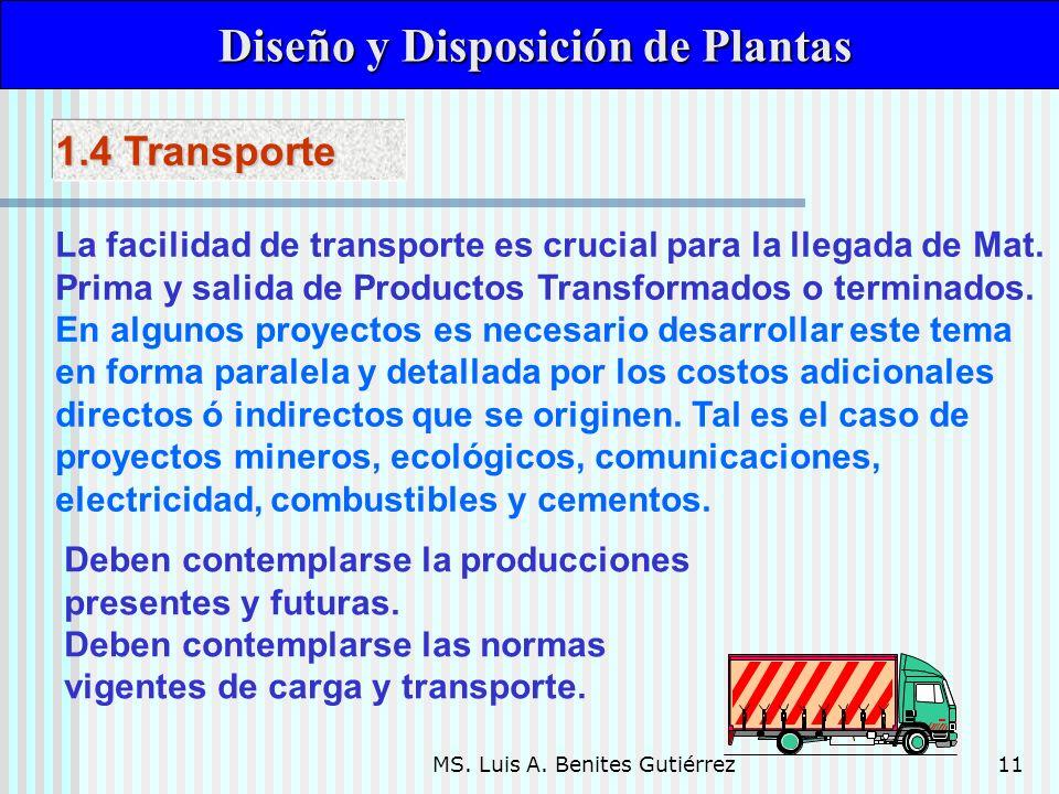 MS. Luis A. Benites Gutiérrez11 Diseño y Disposición de Plantas Diseño y Disposición de Plantas La facilidad de transporte es crucial para la llegada