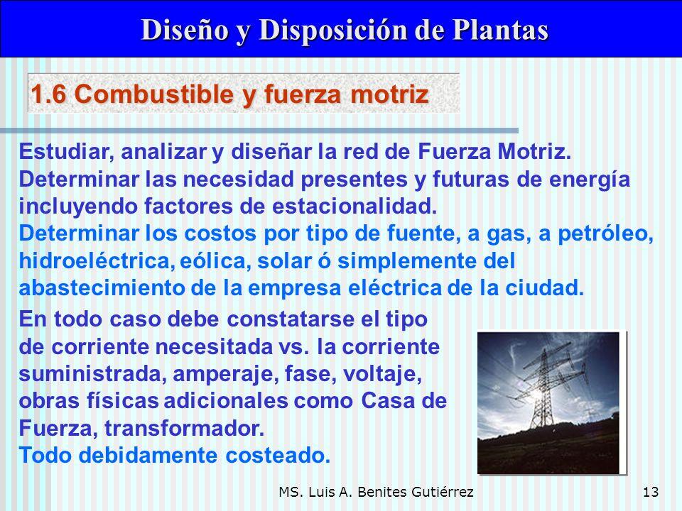 MS. Luis A. Benites Gutiérrez13 Diseño y Disposición de Plantas Diseño y Disposición de Plantas Estudiar, analizar y diseñar la red de Fuerza Motriz.