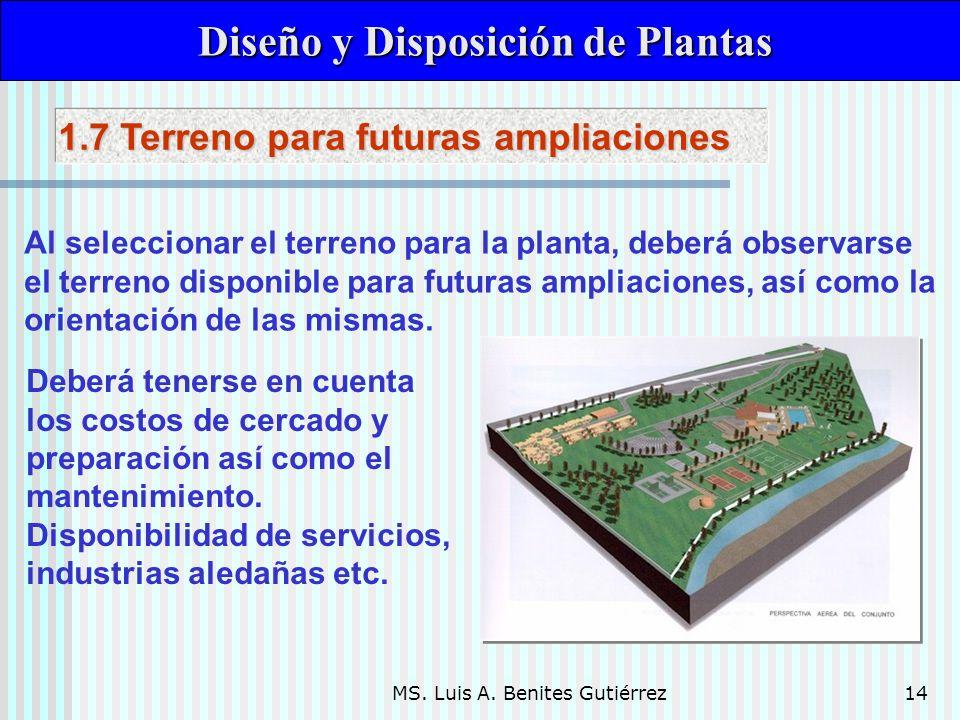 MS. Luis A. Benites Gutiérrez14 Diseño y Disposición de Plantas Diseño y Disposición de Plantas Al seleccionar el terreno para la planta, deberá obser