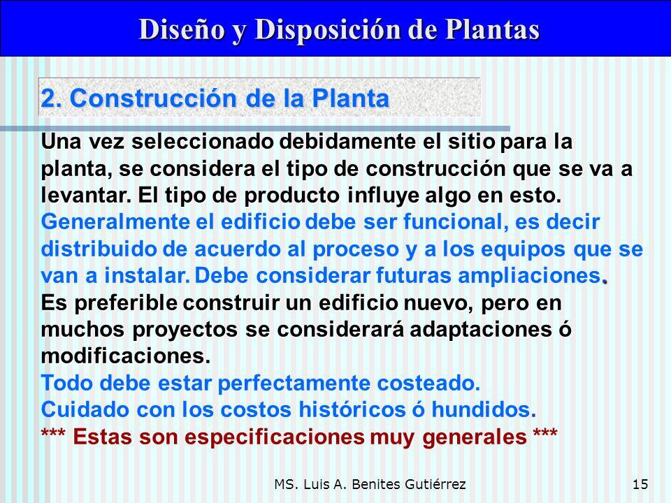 MS. Luis A. Benites Gutiérrez15 Diseño y Disposición de Plantas Diseño y Disposición de Plantas Una vez seleccionado debidamente el sitio para la plan