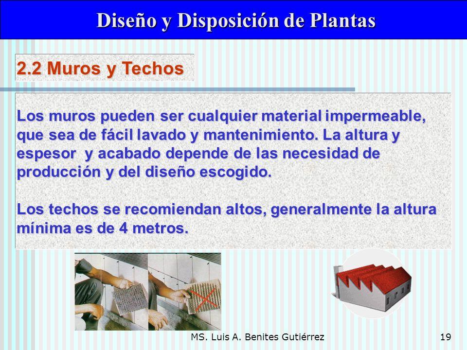 MS. Luis A. Benites Gutiérrez19 Diseño y Disposición de Plantas Diseño y Disposición de Plantas Los muros pueden ser cualquier material impermeable, q