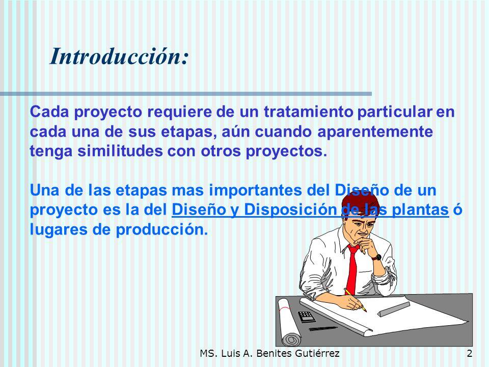 MS. Luis A. Benites Gutiérrez2 Introducción: Cada proyecto requiere de un tratamiento particular en cada una de sus etapas, aún cuando aparentemente t