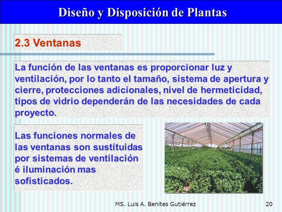 MS. Luis A. Benites Gutiérrez20 Diseño y Disposición de Plantas Diseño y Disposición de Plantas La función de las ventanas es proporcionar luz y venti