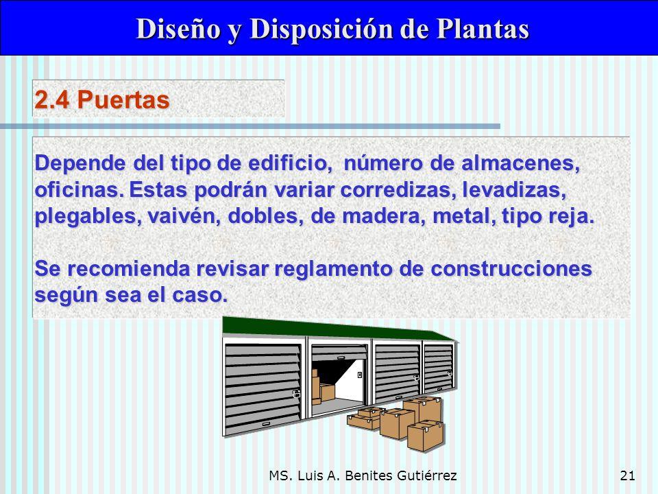 MS. Luis A. Benites Gutiérrez21 Diseño y Disposición de Plantas Diseño y Disposición de Plantas Depende del tipo de edificio, número de almacenes, ofi