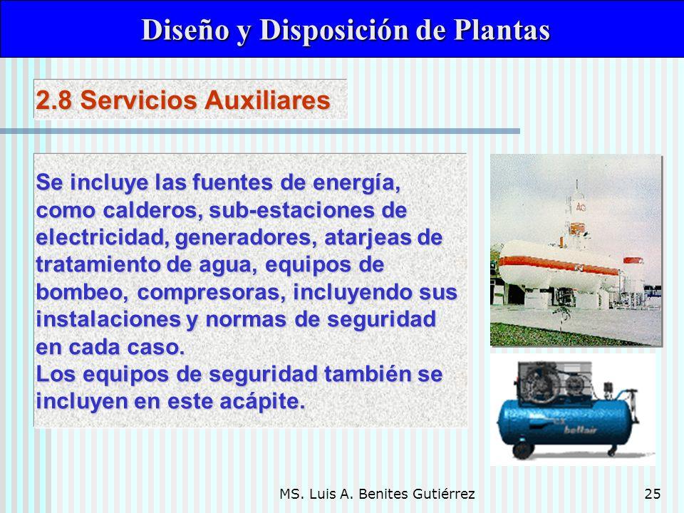 MS. Luis A. Benites Gutiérrez25 Diseño y Disposición de Plantas Diseño y Disposición de Plantas Se incluye las fuentes de energía, como calderos, sub-