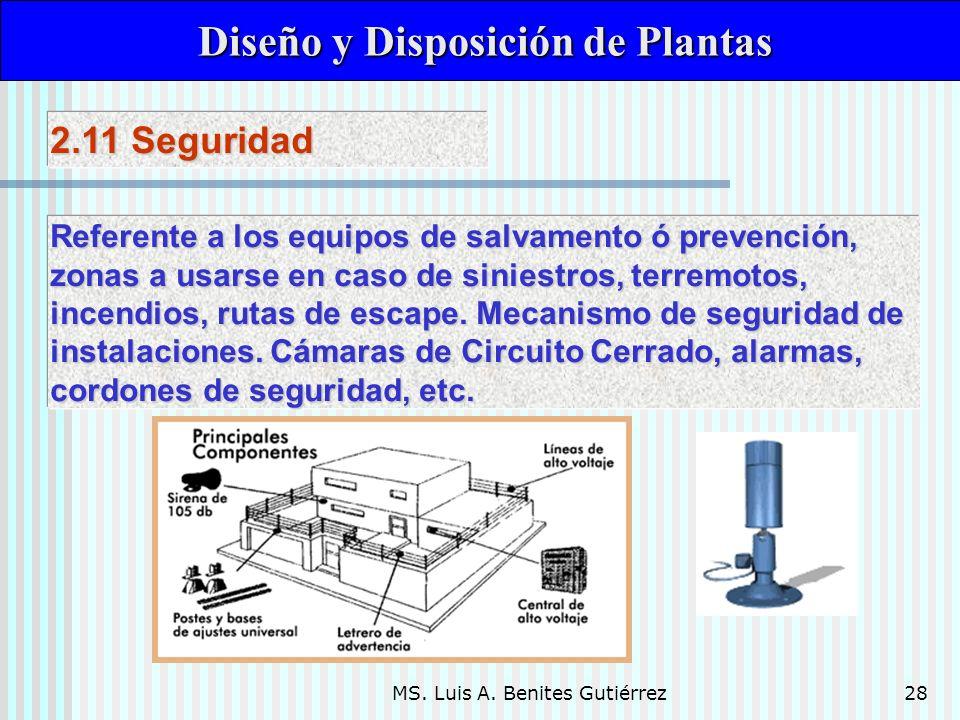 MS. Luis A. Benites Gutiérrez28 Diseño y Disposición de Plantas Diseño y Disposición de Plantas Referente a los equipos de salvamento ó prevención, zo