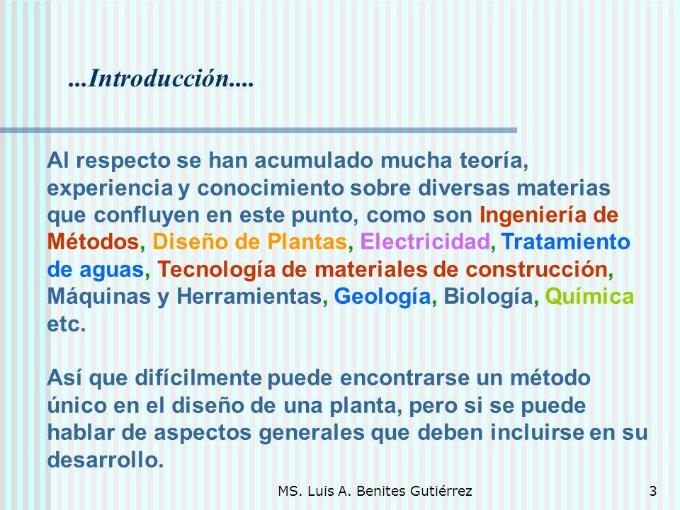MS. Luis A. Benites Gutiérrez3...Introducción.... Al respecto se han acumulado mucha teoría, experiencia y conocimiento sobre diversas materias que co
