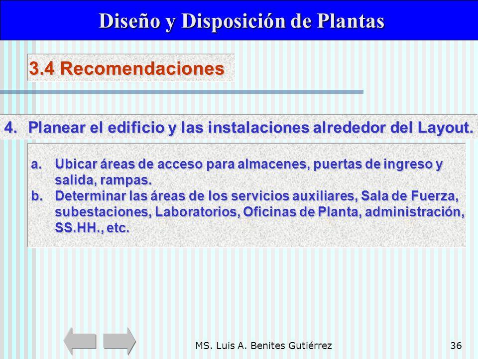 MS. Luis A. Benites Gutiérrez36 Diseño y Disposición de Plantas Diseño y Disposición de Plantas 3.4 Recomendaciones a.Ubicar áreas de acceso para alma