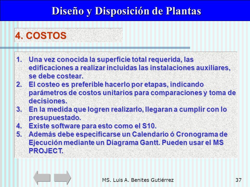 MS. Luis A. Benites Gutiérrez37 Diseño y Disposición de Plantas Diseño y Disposición de Plantas 4. COSTOS 1.Una vez conocida la superficie total reque