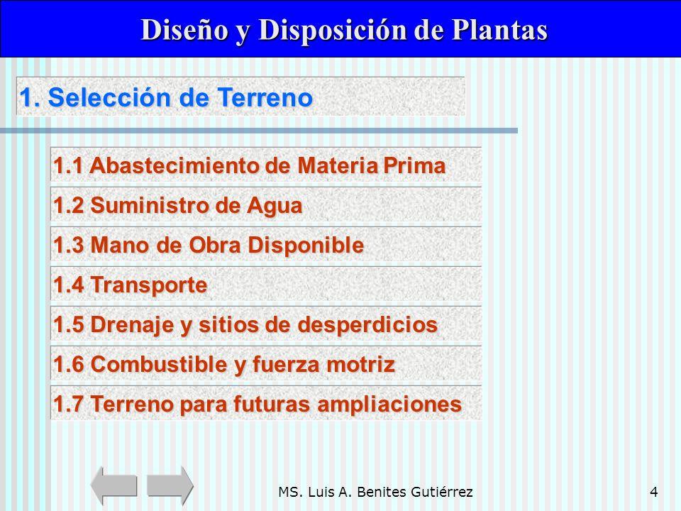 MS. Luis A. Benites Gutiérrez4 1. Selección de Terreno 1. Selección de Terreno Diseño y Disposición de Plantas Diseño y Disposición de Plantas 1.1 Aba