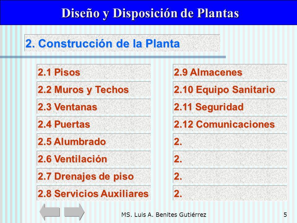 MS. Luis A. Benites Gutiérrez5 2. Construcción de la Planta 2. Construcción de la Planta Diseño y Disposición de Plantas Diseño y Disposición de Plant