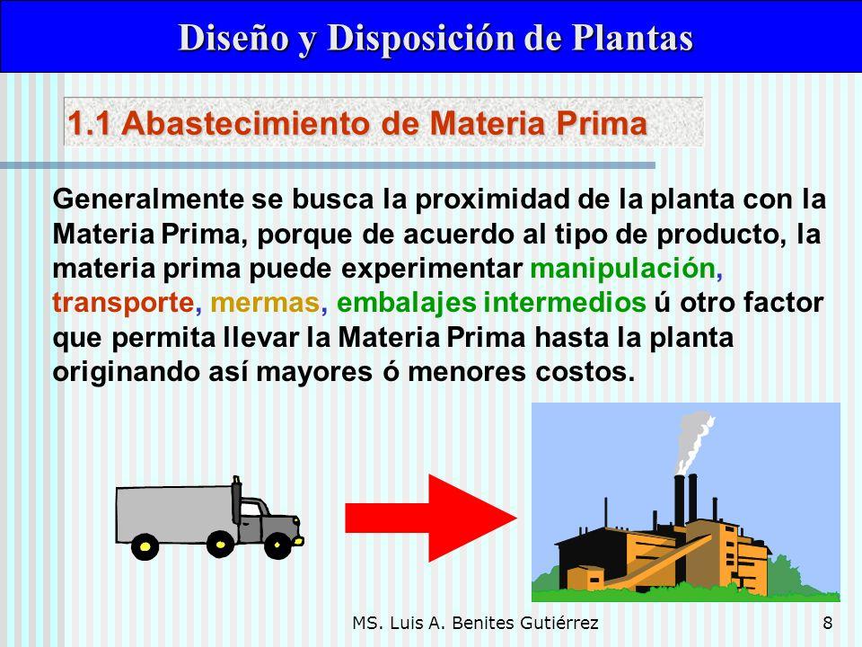 MS. Luis A. Benites Gutiérrez8 Diseño y Disposición de Plantas Diseño y Disposición de Plantas Generalmente se busca la proximidad de la planta con la