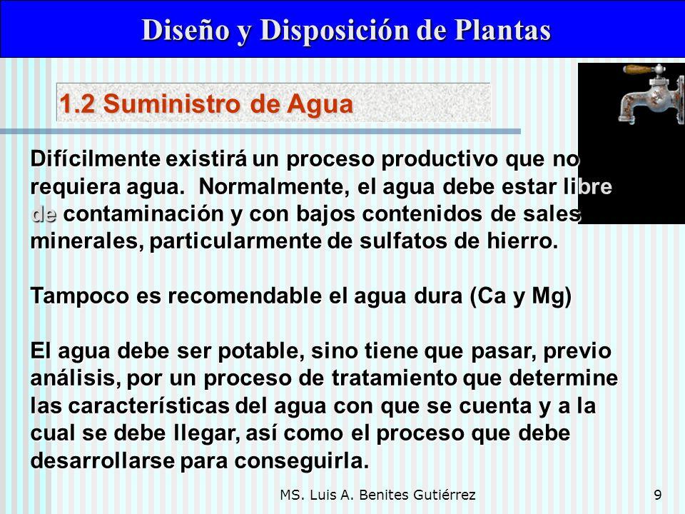 MS. Luis A. Benites Gutiérrez9 Diseño y Disposición de Plantas Diseño y Disposición de Plantas Difícilmente existirá un proceso productivo que no requ