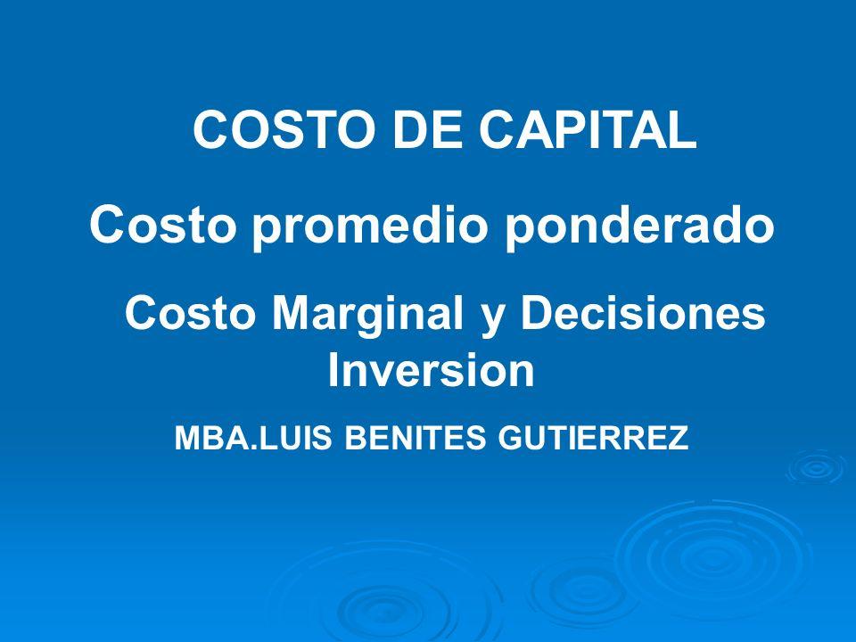 COSTO DE CAPITAL Costo promedio ponderado Costo Marginal y Decisiones Inversion MBA.LUIS BENITES GUTIERREZ