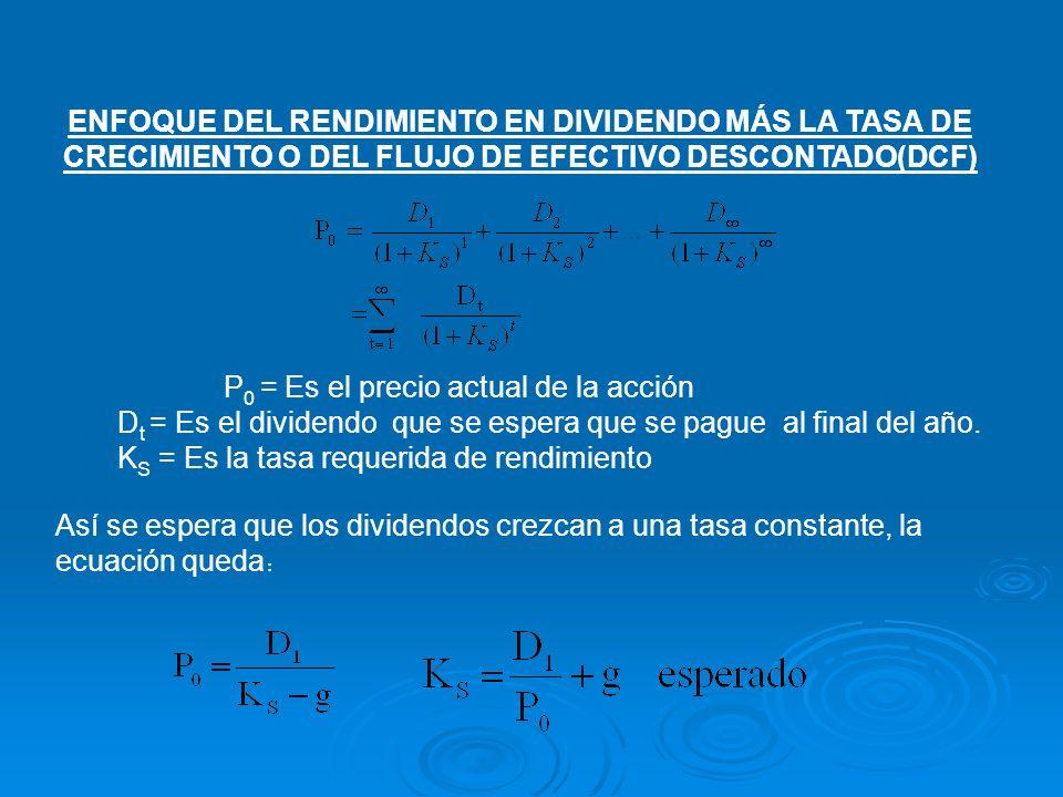 ENFOQUE DEL RENDIMIENTO EN DIVIDENDO MÁS LA TASA DE CRECIMIENTO O DEL FLUJO DE EFECTIVO DESCONTADO(DCF) P 0 = Es el precio actual de la acción D t = E