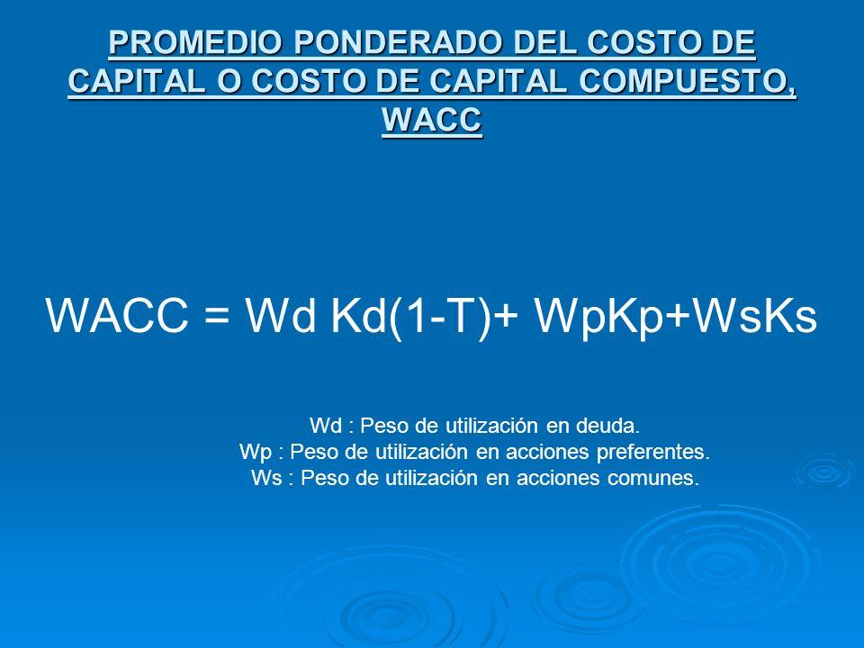 PROMEDIO PONDERADO DEL COSTO DE CAPITAL O COSTO DE CAPITAL COMPUESTO, WACC Wd : Peso de utilización en deuda. Wp : Peso de utilización en acciones pre