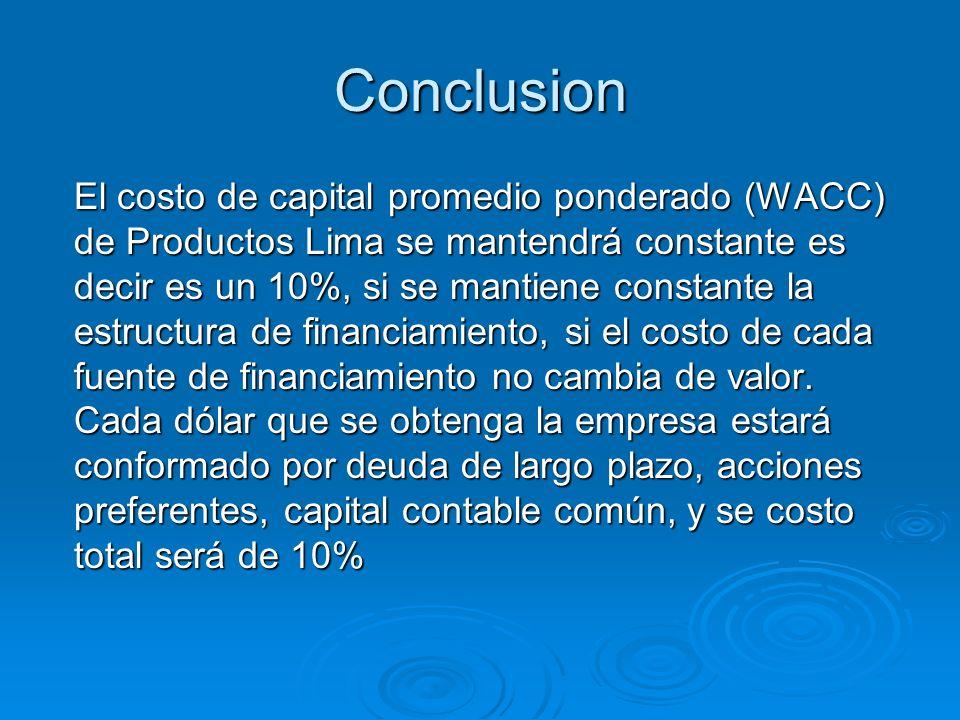 Conclusion El costo de capital promedio ponderado (WACC) de Productos Lima se mantendrá constante es decir es un 10%, si se mantiene constante la estr