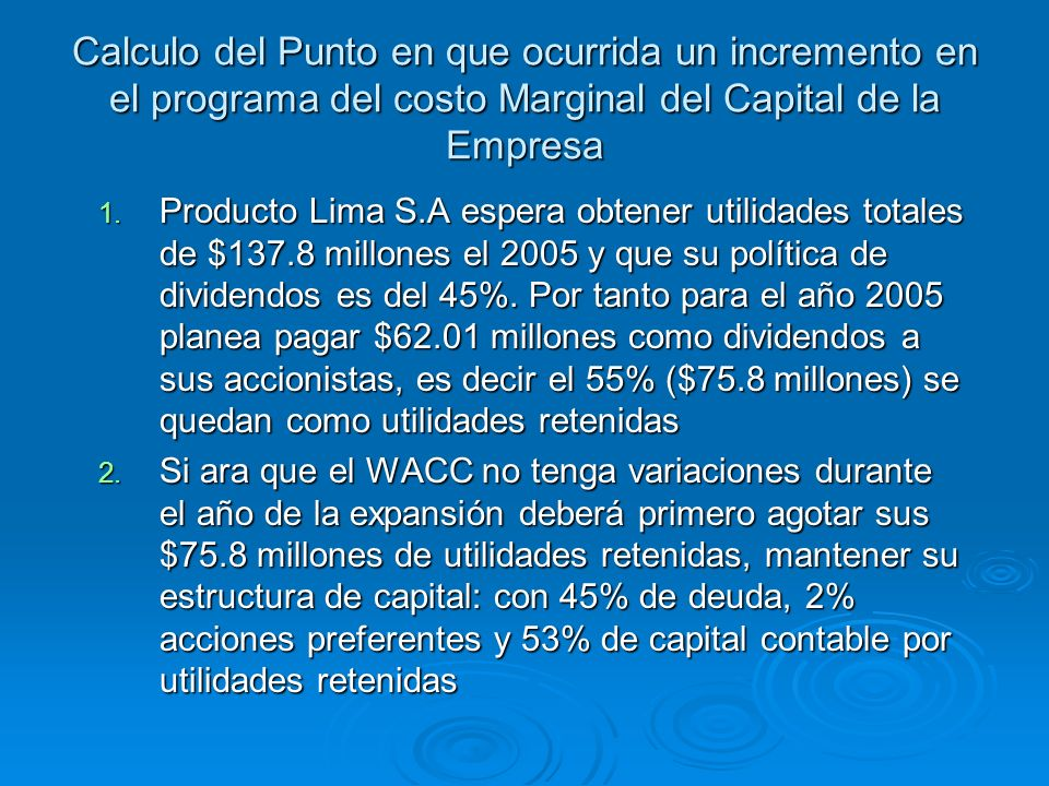Calculo del Punto en que ocurrida un incremento en el programa del costo Marginal del Capital de la Empresa 1. Producto Lima S.A espera obtener utilid