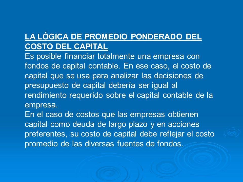 LA LÓGICA DE PROMEDIO PONDERADO DEL COSTO DEL CAPITAL Es posible financiar totalmente una empresa con fondos de capital contable. En ese caso, el cost