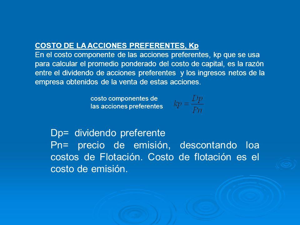 costo componentes de las acciones preferentes COSTO DE LA ACCIONES PREFERENTES, Kp En el costo componente de las acciones preferentes, kp que se usa p