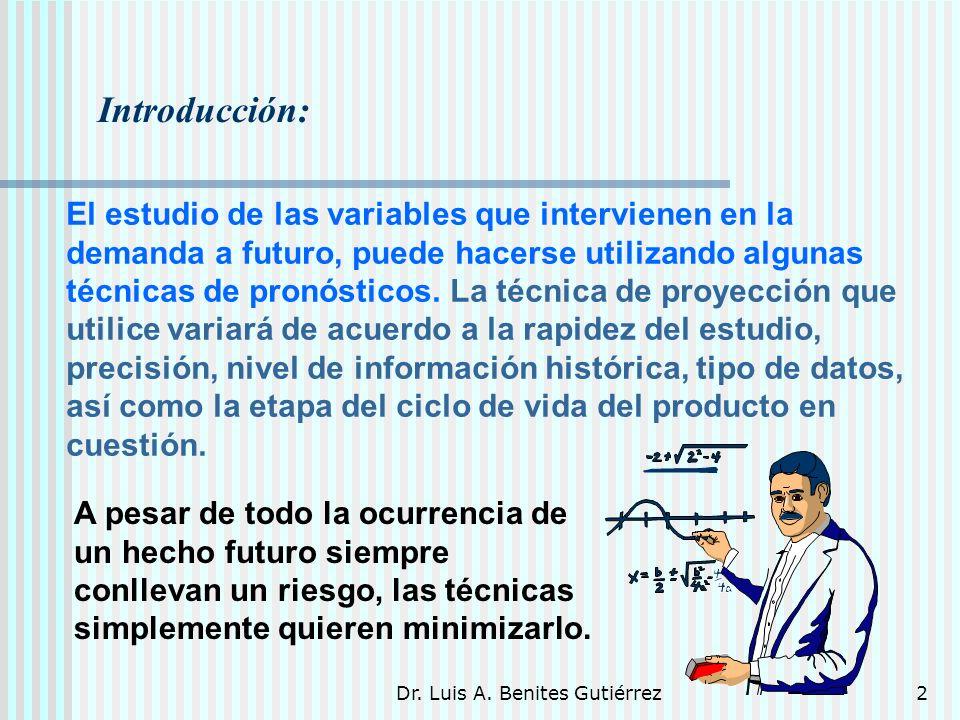 Dr. Luis A. Benites Gutiérrez2 Introducción: El estudio de las variables que intervienen en la demanda a futuro, puede hacerse utilizando algunas técn