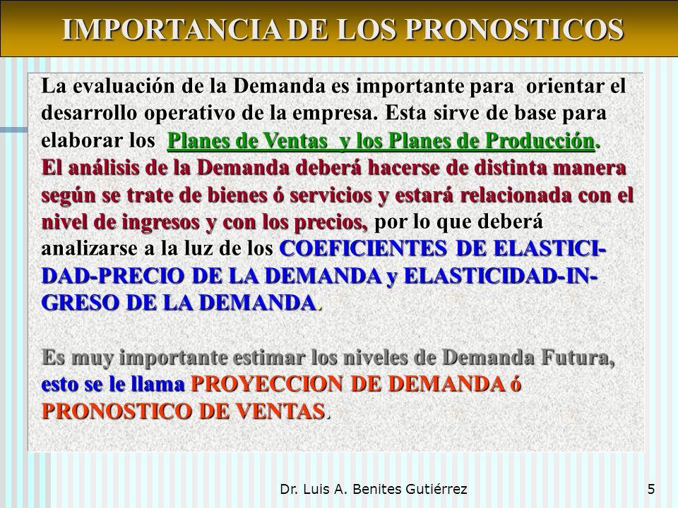 Dr. Luis A. Benites Gutiérrez5 La evaluación de la Demanda es importante para orientar el desarrollo operativo de la empresa. Esta sirve de base para