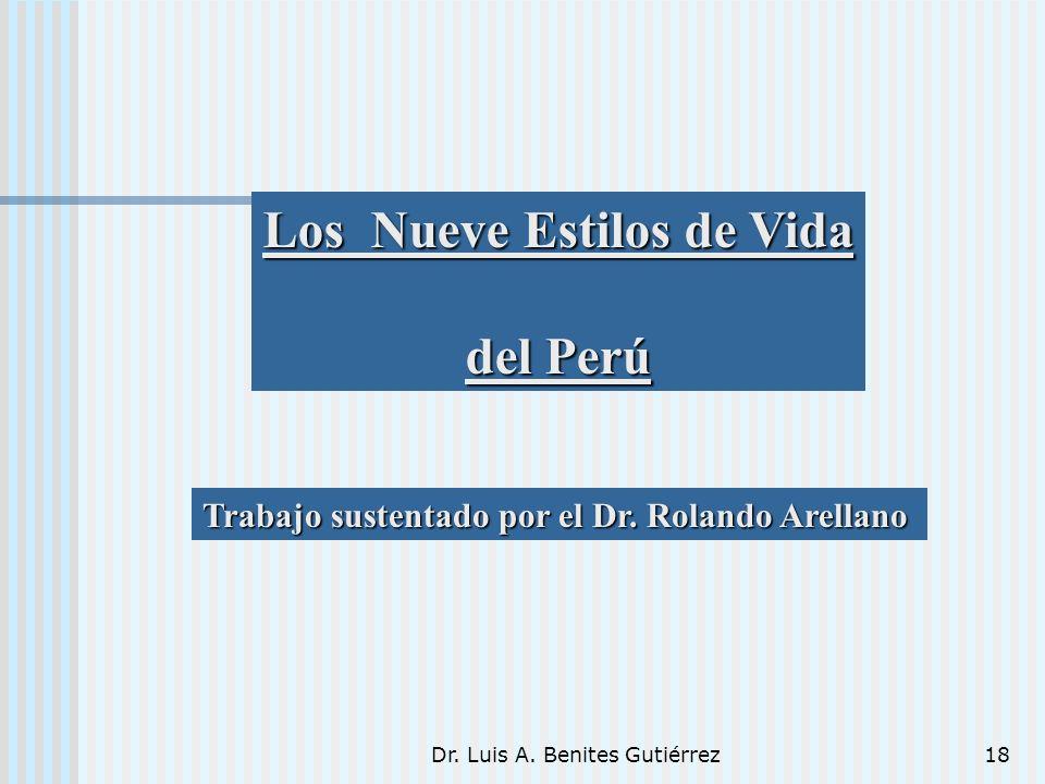 Dr. Luis A. Benites Gutiérrez18 Los Nueve Estilos de Vida del Perú Trabajo sustentado por el Dr. Rolando Arellano