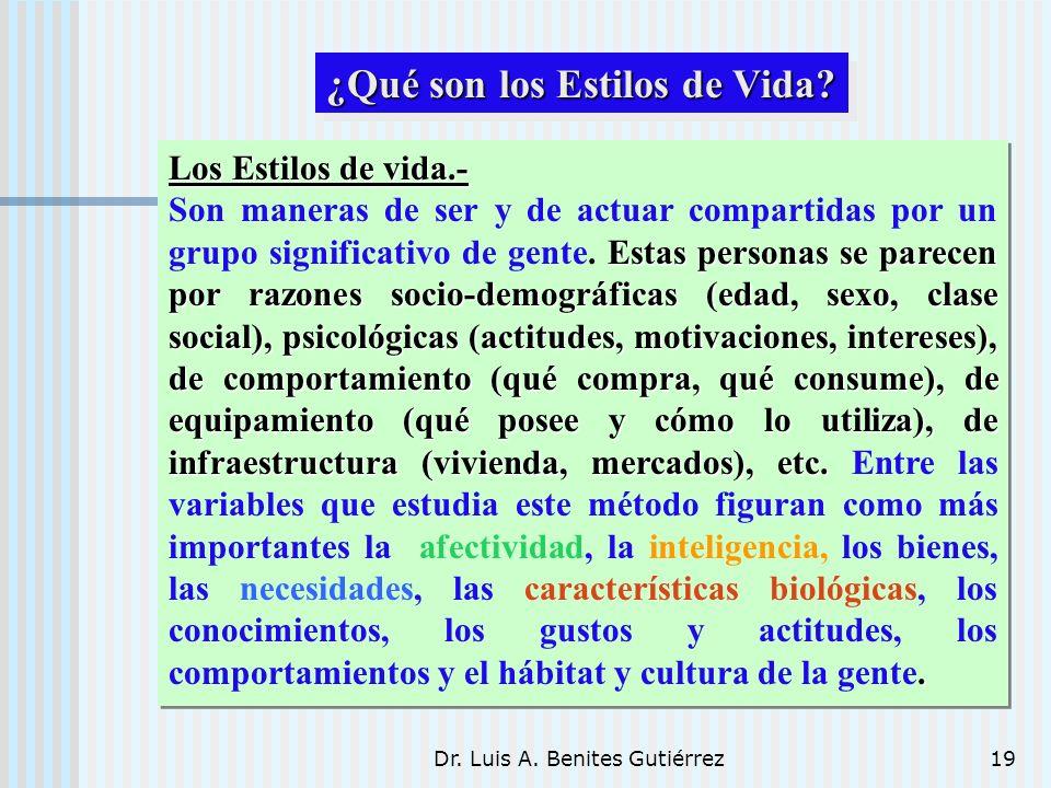 Dr. Luis A. Benites Gutiérrez19 Los Estilos de vida.- Estas personas se parecen por razones socio-demográficas (edad, sexo, clase social), psicológica